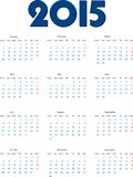 International calendar of 2015 year Stock Image