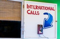 International Calls. Old Telephone on tropical island promising International Calls Stock Photo