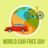 International car free day background, flat style. International car free day background. Flat illustration of international car free day background for web royalty free illustration
