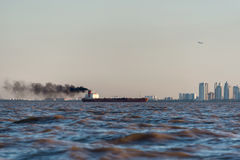 International Cargo Boat Pollution. Buenos Aires. Royalty Free Stock Image