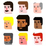 International Cartoon Male Faces Icon Set of all age groups Royalty Free Stock Photos