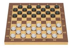 International checkers game board and pieces, 3D rendering Royalty Free Stock Photography