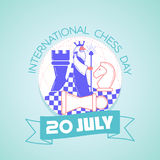 International Chess Day. Calendar for each day on july Stock Photo