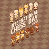 International Chess Day card. Isometric cartoon chess pieces. International Chess Day card. Isometric cartoon chess pieces King, Queen, Bishop, Rook, Pawn royalty free illustration