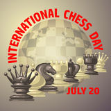 International chess day card. July 20. Holiday poster. Chess background. International chess day card. July 20. Holiday congratulation poster stock illustration