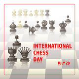 International chess day card. July 20. Holiday poster. Chess background. International chess day card. July 20. Holiday congratulation poster vector illustration