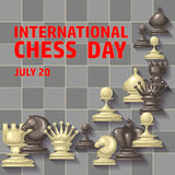 International chess day card. July 20. Holiday poster. Chess background. International chess day card. July 20. Holiday congratulation poster royalty free illustration