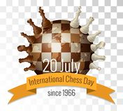 The International chess day is celebrated annually on July 20, Chess pieces are located. On the globe stylized under a chessboard royalty free illustration