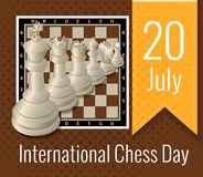 The International chess day is celebrated annually on July 20,. Chess pieces are located on the chessboard stock illustration
