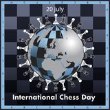 The International chess day is celebrated annually on July 20,. Chess pieces are located on the globe stylized under a chessboard vector illustration
