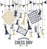 International chess day is celebrated annually on July 20, chess pieces Board and clock. Postcard. International chess day is celebrated annually on July 20 vector illustration