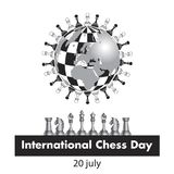 The International chess day is celebrated annually on July 20, Chess pieces are located on the globe stylized under a. Chessboard. black and white vector stock illustration