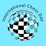 International Chess Day. 20 July. Planet with a checkerboard pattern and continents. International Chess Day. 20 July. Concept of a game event. Planet with a royalty free illustration