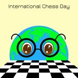 International Chess Day. 20 July. Planet Earth is a boy with glasses looks at a chessboard. International Chess Day. 20 July. Concept of a game event. Planet vector illustration