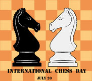 International chess day, july 20, horse figure. International chess day celebrate july 20, horse figure Stock Photo