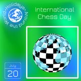 International Chess Day. 20 July. Planet with a checkerboard pattern and continents. Series calendar. Holidays Around the World. E. International Chess Day. 20 vector illustration