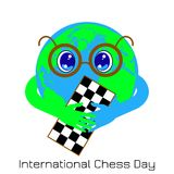 International Chess Day. 20 July. Planet Earth is a boy with glasses holding a chessboard. International Chess Day. 20 July. Concept of a game event. Planet stock illustration