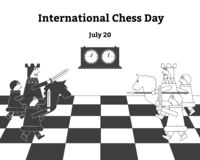 International chess day. Vector illustration of chess, chess clock stock illustration