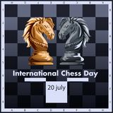 International chess day vector illustration label design. July 20. International chess day Vector illustration with two chess pieces. July 20 stock illustration