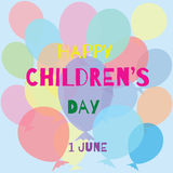 International children`s day. Greeting card, poster, banner. International children`s day. Card colorful balloons on a blue background royalty free illustration
