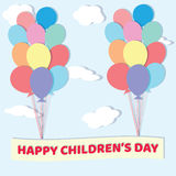 International children`s day. Greeting card, poster, banner, vec. International children`s day. Greeting card bunch of colored balloons on a background of sky stock illustration