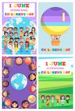 International Children s Day Greeting Cards Set. International Children s Day greeting cards collection. 1 June international holiday template vector poster with Stock Photography