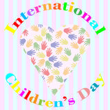 International children's day illustration with hands and love Royalty Free Stock Photos