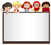 International children on whiteboard Royalty Free Stock Photos