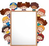 International children and whiteboard template vector illustration