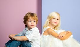 International childrens day. Boy and girl cute friends. Friendship and love. Lovely tender children. Small kids. Friendship. Sincere friendship. Couple adorable stock photo