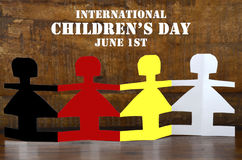 International Childrens Day concept with paper dolls Stock Images