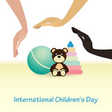 International Childrens Day concept. Protect child. Baby toys. Royalty Free Stock Photo
