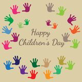 International childrens day. Happy Children day greeting card. Kid's hands stamps. Flat Illustration royalty free illustration