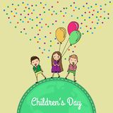 International childrens day. Happy Children day greeting card. Kids with balloons. Flat Illustration vector illustration