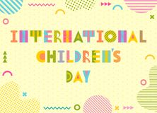International Childrens Day. Trendy geometric font in memphis style of 80s-90s. Background with abstract geometric elements. International Childrens Day. Trendy royalty free illustration