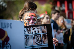 International circus day. Activists protested against exploitation the animals Stock Photography