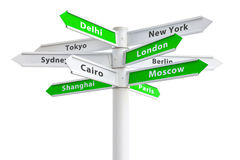 International Cities On Crossroads Sign. Featuring New York, London, Tokyo and more Royalty Free Stock Photos