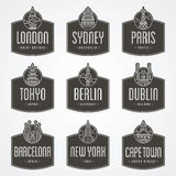 International city badges Stock Photo
