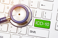 International  Classification of Diseases and Related  Health  P. Roblem 10th Revision or ICD-10 and stethoscope medical on computer keyboard Royalty Free Stock Photography