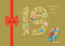 Clients Day. Floral Number 19 with pearl collar. International Clients Day. Yellow number Nineteen with folk floral decor. Pearl collar with texts as pendants royalty free illustration
