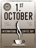 International coffee day Poster with barista cups, 1 st October. Lettering, the design postcards, restaurant menus Stock Images