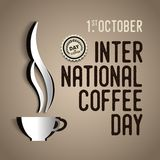 International coffee day Poster with barista cups, 1 st October. Lettering, the design postcards, restaurant menus Royalty Free Stock Image