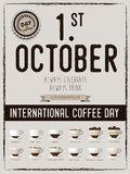 International coffee day Poster with barista cups, 1 st October. Lettering, the design postcards, restaurant menus Stock Photography