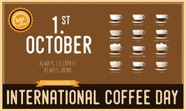 International coffee day Poster with barista cups, 1 st October. Lettering, the design postcards, restaurant menus Stock Photo
