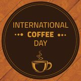International Coffee Day, 1st October. Hot coffee cup logo illustration Stock Photo