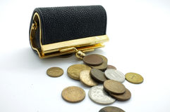International coins and black wallet, pocket Stock Images