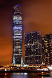 International Commerce Center Kowloon Hong Kong. Inernational Commerce Center ICC Building Kowloon Hong Kong Harbor at Night 4th Largest Building in the World Stock Photography