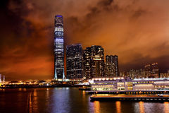 International Commerce Center Kowloon Hong Kong. Inernational Commerce Center ICC Building Kowloon Hong Kong Harbor at Night 4th Largest Building in the World Stock Images