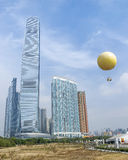 International commerce center tower and balloon in Hong Kong Royalty Free Stock Photos
