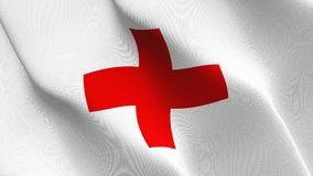 International Committee of the Red Cross flag waving on wind. International Committee of the Red Cross background fullscreen flag blowing on wind. Realistic Stock Images